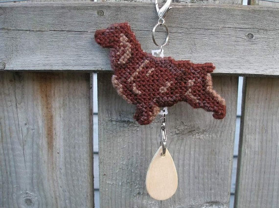 Field Spaniel - dog art decor hang anywhere crate tag, hand stitched by canine artisan, Magnet option