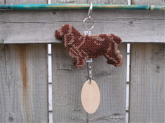 Sussex Spaniel dog crate tag - hang anywhere decorative hand stitched original art, magnet option