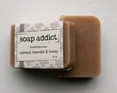 Oatmeal, lavender and honey handmade soap
