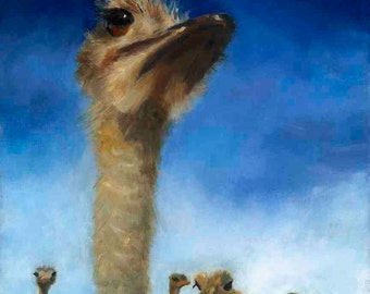 "8"" X 10"" Ostrich Alert:  Signed fine art print from original oil painting of an ostrich."