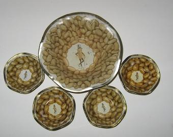 Vintage Planters Peanuts Metal Nut Dish w 4 Side Dishes