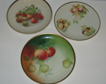 3 Antique Fruit Plates Instant Collection REDUCED