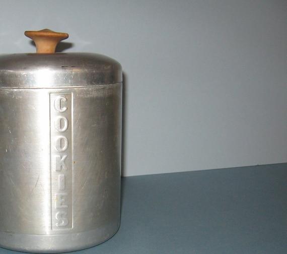 Retro Spun Aluminum Cookie Tin Jar