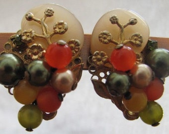 1950's-60's Clip Multi Pearl Earrings