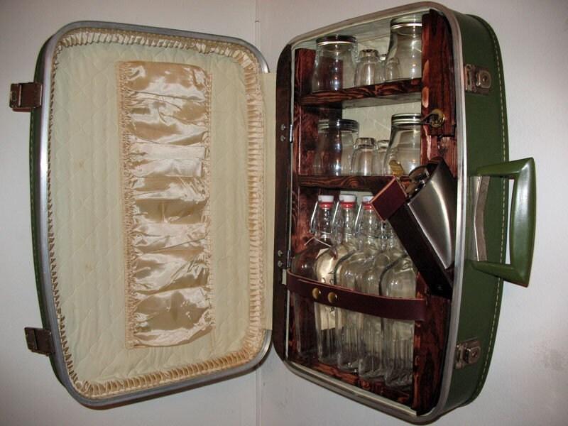 Upcycled Suitcase Liquor Cabinet