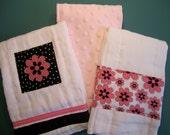 SALE-- Quality Burp Cloths/ Pink and Black