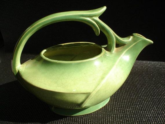 McCoy Green Deco Tea Pot Pitcher Organic Botanical Design