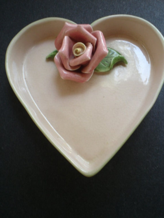 pink sweet heart  love dish with forever rose