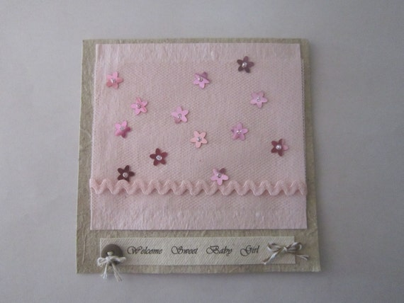 Handmade Welcome Baby Girl Card - Handmade Paper Card - 100% Recycled Paper Card - Eco Friendly Card