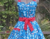 The Cat in the Hat Storybook Apron -Sweetheart Hostess-with Red and White Polka Dots -Full of Twirl Flounce