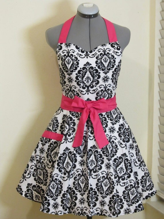 Sweetheart Hostess Apron-Black Damask with Hot Pink.. Full of Twirl Flounce