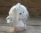 ON SALE Art Doll Ornament Piggy Bust.  OOAK Decorative Fantasy Sculpt
