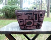 Hand Carved Wooden Box purse- Purple Primitive mod rockabilly chic