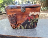 Handcarved TIKI VOLCANO PURSE Rockabilly Retro Witco