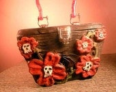 Hand Carved Wooden Box purse- Skull Flowers Rockabilly Goth Dark
