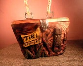 Hand Carved Wooden Box purse TIKI GARDENS tribute Rockabilly vlv