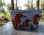Seahorse  box Purse BOLD- rockabilly tiki retro vlv hand carved
