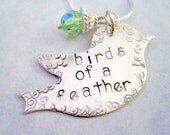 Handstamped jewelry birds of a feather necklace sterling silver personalized womans necklace bird pendant green crystal