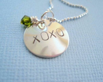 hugs and kisses xoxo necklace-statement jewelry-gift for girls women-sterling silver-hand stamped pendant-engraved personalized jewelry