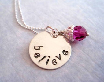 Believe inspirational necklace-sterling silver-gift for women girls-personalized jewelry-hand stamped pendant-custom charm-statement jewelry