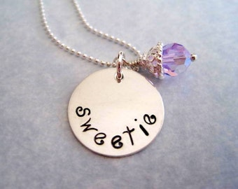 Sweetie necklace-custom sterling silver hand stamped pendant-womans jewelry-personalized gift-engraved sweetie charm-valentines gift-gift
