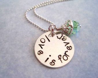 love is forever necklace-personalized jewelry-sterling silver hand stamped-love pendant-engraved love charm-womens jewelry-gift for women