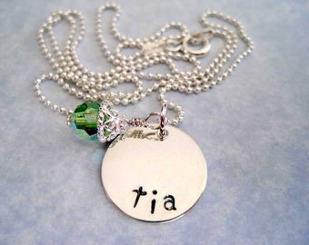 Tia aunt spanish necklace-name pendant-hand stamped personalized jewelry-custom necklace-sterling silver-gift for women aunt-engraved charm