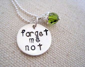 forget me not necklace-statement jewelry-sterling silver-gift for women girl-hand stamped pendant-personalized jewelry custom engraved charm