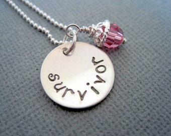 Survivor necklace-stamped silver pendant-womans inspirational-breast cancer survivor-sterling silver pendant-survivor pendant-pink crystal