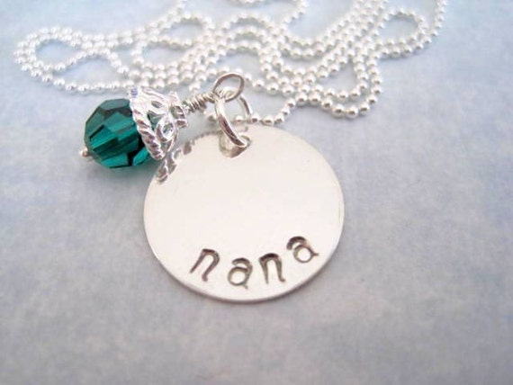 Nana necklace-gift for nana-grandmother-personalized pendant-custom jewelry-nana charm-engraved sterling silver-gift for women statement