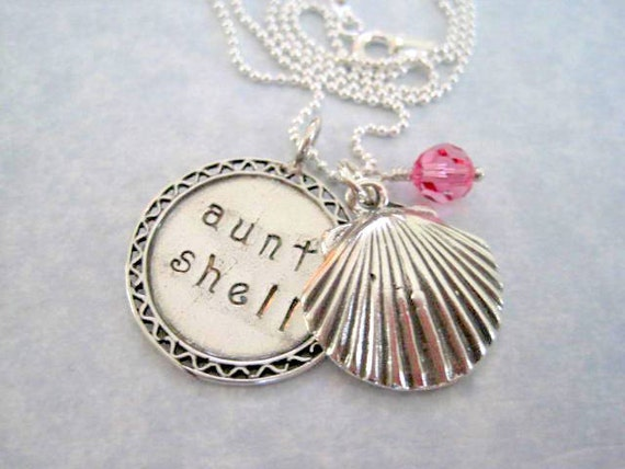 Aunt Shell  Hand Stamped Charm Necklace Sterling Silver pendant pink crystal by Marybeadz