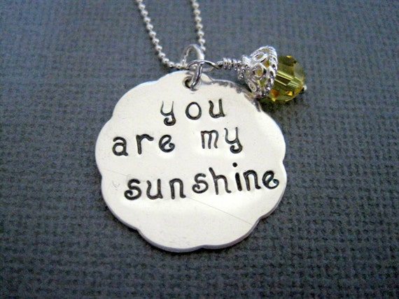 Hand stamped necklace you are my sunshine personalized engraved womans jewelry yellow crystal