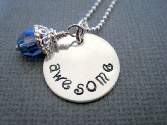 Awesome custom necklace-inspirational gift-hand stamped sterling silver-womans pendant-engraved personalized-girls necklace-awesome charm