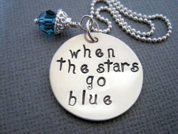 When the stars go blue necklace-personalized jewelry-gift for women girls-custom sterling charm-engraved pendant-statement jewelry-charm