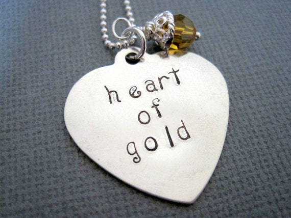 Personalized necklace sterling silver heart of gold hand stamped womans necklace engraved topaz crystal unique pendant