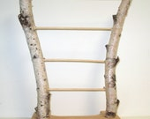 Natural handmade birch bark jewelry display stand
