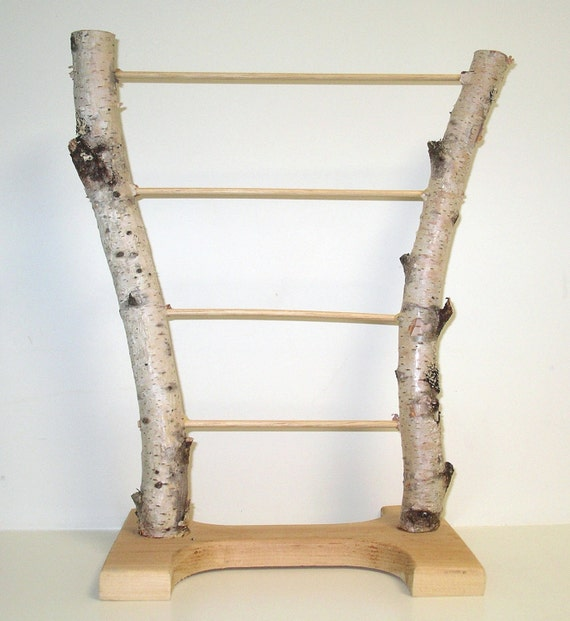 Natural handmade birch bark jewelry display stand