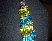 Blue and green spring earrings