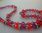 Fuschia and orange crystal necklace