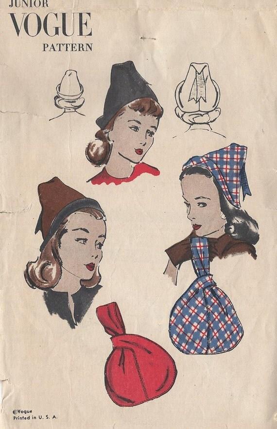 Vintage 1940's Misses Hat And Bag / Purse  Pattern,  Junior Vogue 3029