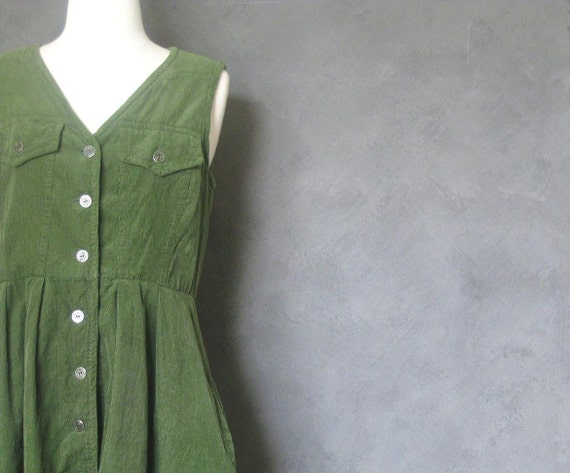 80s corduroy dress forest green button front