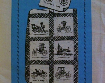 Vintage Stagecoach Embroidered Quilt Pattern Design 7596, Embroidery, Steamboat, Trolley, Model A Ford, Bicycle For Two