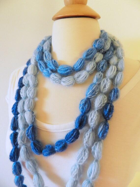 Pompom Scarf Crochet Lariat Necklace Neckwarmer Scarf - Pompom Puff Stitch Lariat - Shades of Blue, White