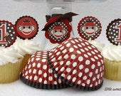 Sock Monkey Cupcake Toppers & Baking Cups (Qty 24)