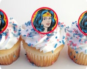 Wonder Woman Party Favor Cupcake Toppers (12)