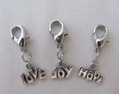 Hope, Love, or Joy Antiqued Silver-tone Clip-on Charm for Bookmark Keychain Necklace Bracelet by Kristin Victoria Designs