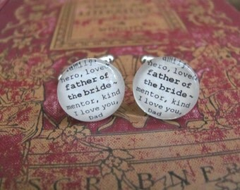 Father of the Bride Cuff Links for Wedding by Kristin Victoria Designs