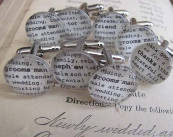 Wedding Party Cuff Link Sets Dictionary Personalized for Groom Groomsman Father of the Bride Brother Grandfather