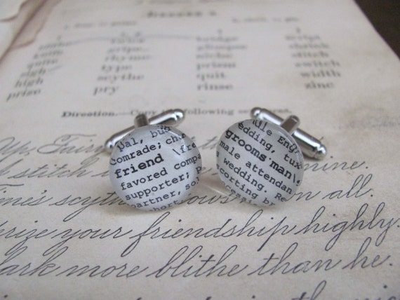 Groomsman Friend Glass Gem Cuff Links by Kristin Victoria Designs