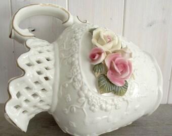 Vintage Shabby Chic Porcelain Rose Pitcher
